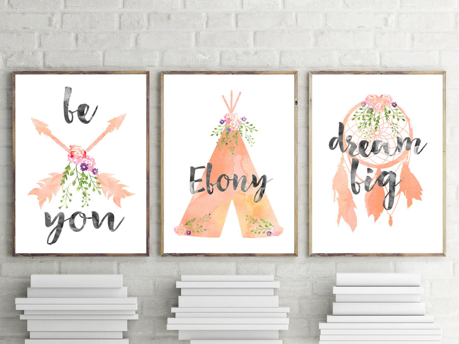 Girls Nursery Prints - Girls Boho Tribal Peach Watercolour Prints - The Kids Print Store