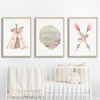 Baby, Girls Boho Tribal Nursery or Bedroom Wall Art Decor Print Set with Personalised Name Print - Pink