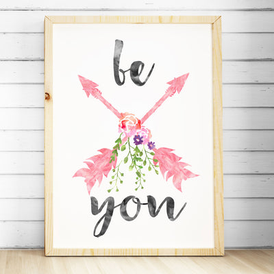 Girls Nursery Prints - Watercolour Arrows Print - Be You - The Kids Print Store