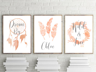 Girls Nursery Prints - Peach Watercolour Prints - Set of 3 - The Kids Print Store