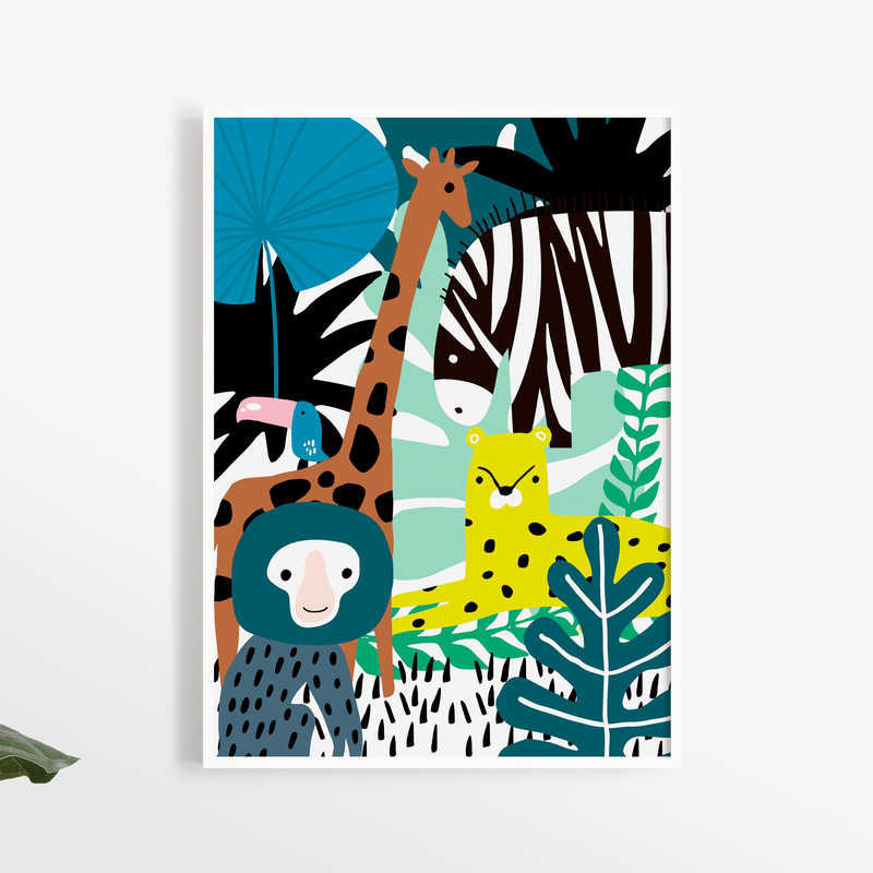 Jungle Animal Collage Nursery Print