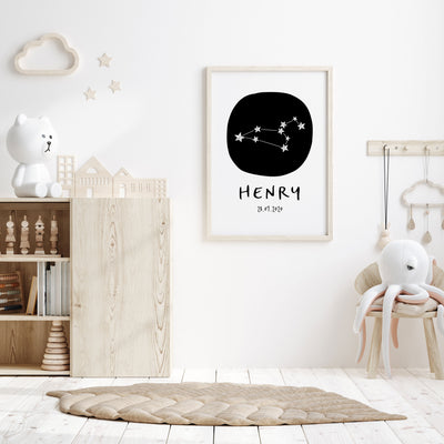 Leo Zodiac Constellation Nursery Wall Art Birth Print