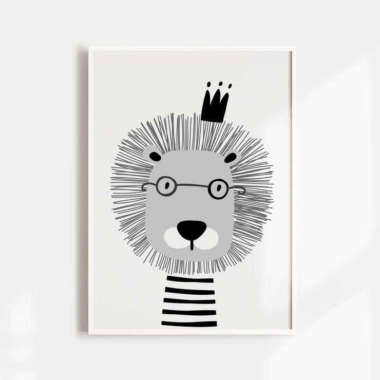 Scandi Lion, Bear & Name Print