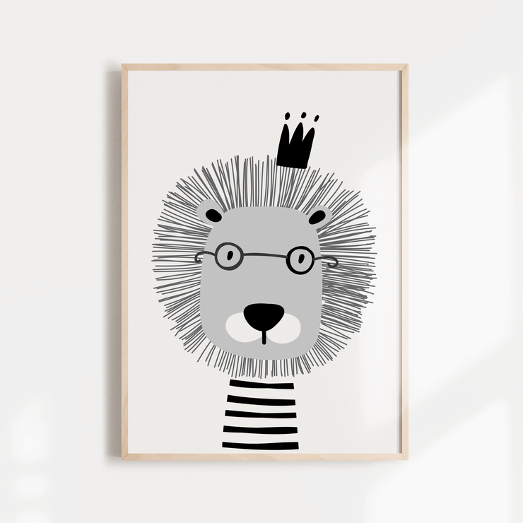 Monochrome Scandi Lion Nursery Wall Art Print