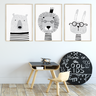 Monochrome Scandi Animal Nursery Wall Art Print Set - Bunny, Bear & Lion
