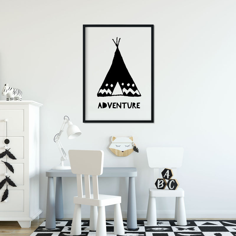 Monochrome Tribal Teepee Adventure Nursery or Bedroom Wall Art Print.