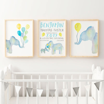 Watercolour Elephants with Birth Print - Nursery or Bedroom Wall Art Print Set