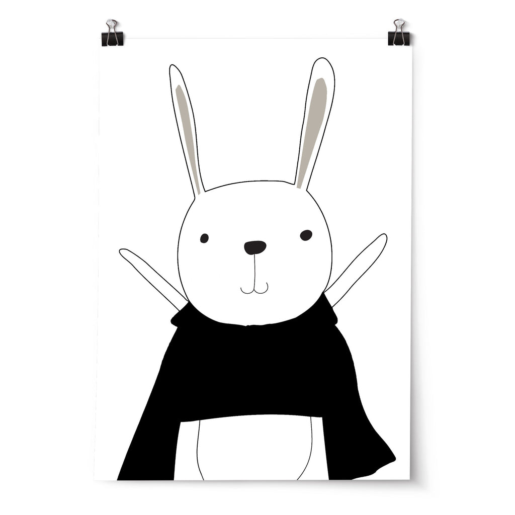 Boys Monochrome Superhero Bunny Nursery Or Bedroom Wall Art Print