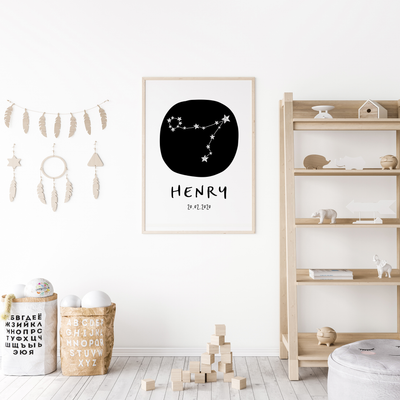 Pisces Zodiac Constellation Nursery Wall Art Birth Print