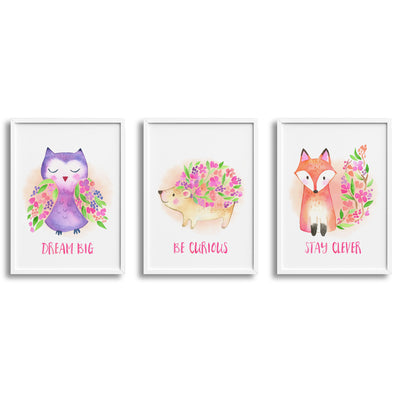 Floral Woodland Owl, Hedgehog & Fox Nursery or Bedroom Wall Art Decor Print Set