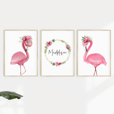 Tropical Flamingos - Set of 3 Nursery Prints - Personalised