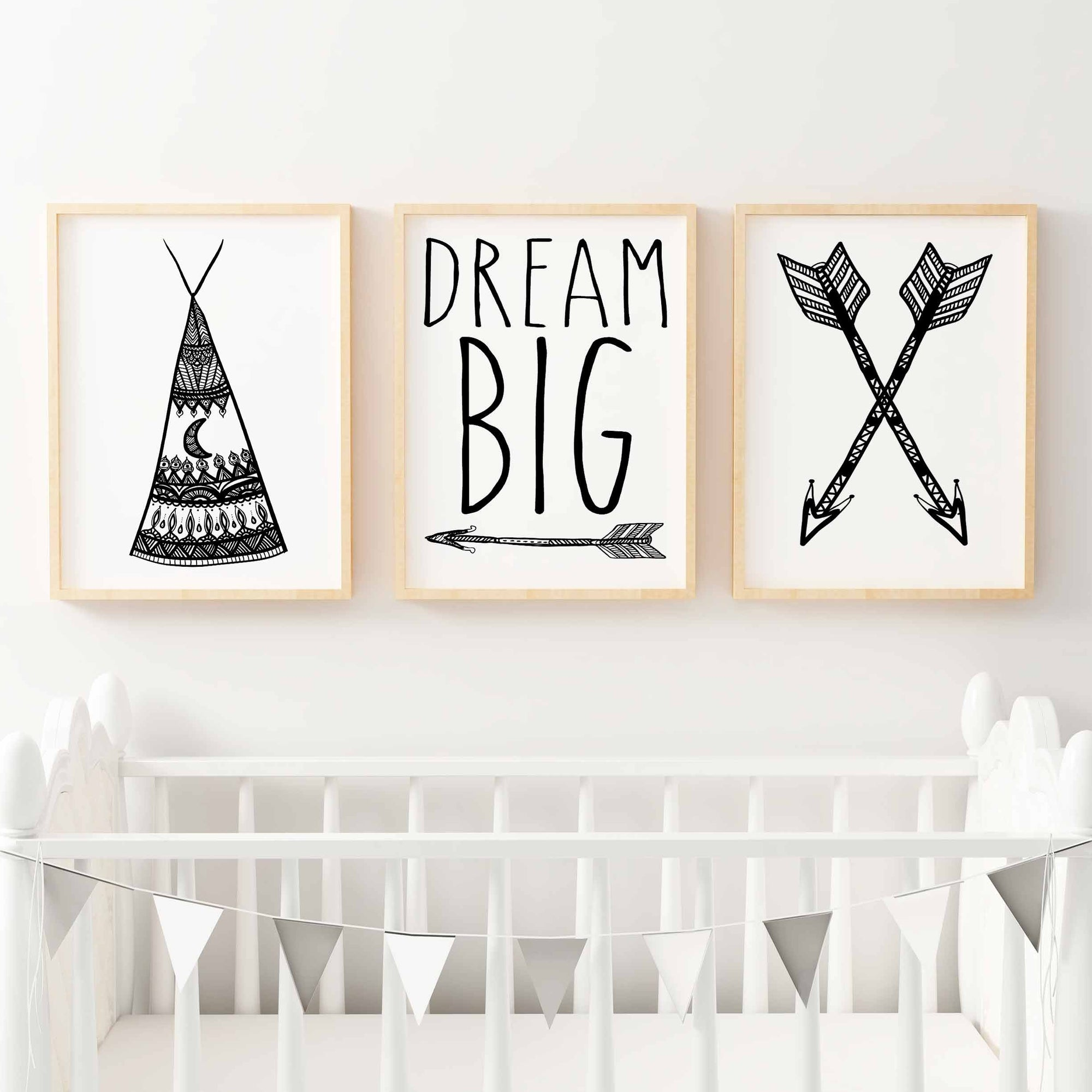 Boho Tribal Print Set - Arrows, Teepee & Dream Big Nursery or Bedroom Wall Art