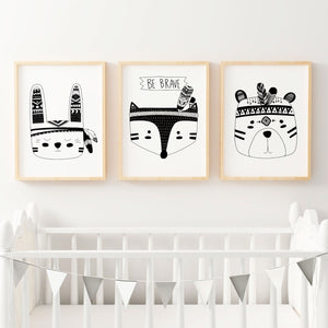 Monochrome Tribal Animal Prints - Set of 3