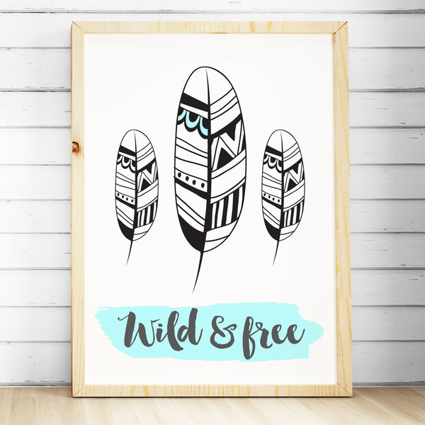 tribal nursery bedroom wall art print tribal feather print wild free the - Prints For Kids