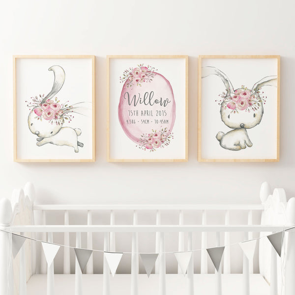 Baby, Girls Woodland Boho Bunny Nursery or Bedroom Wall Art Decor Print Set- Birth Print