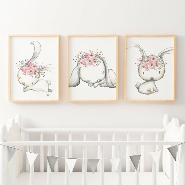 Woodland Boho Floral Bunny Nursery or Bedroom Wall Art Decor Print Set
