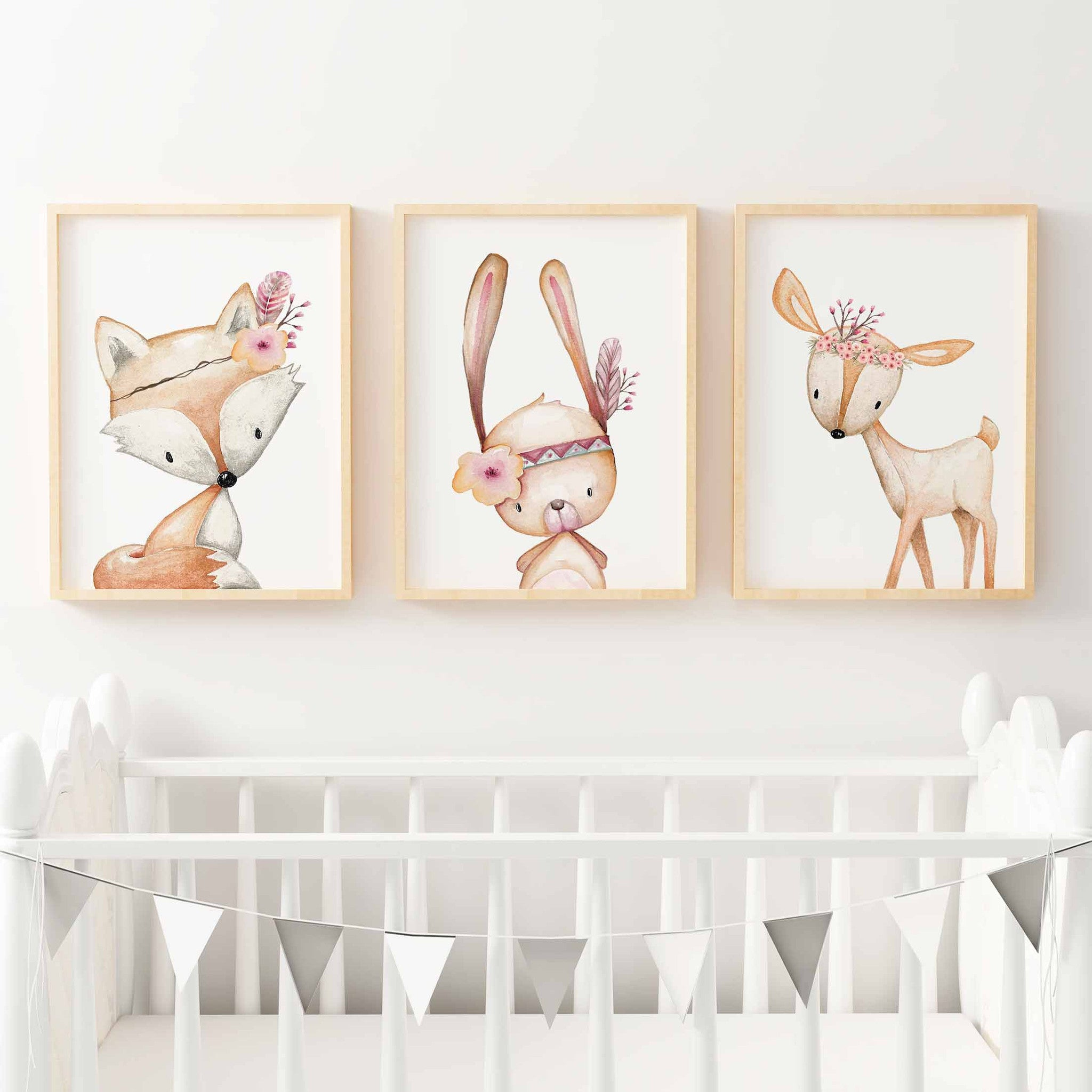 High Quality Baby, Girls Floral Woodland Nursery Or Bedroom Wall Art Decor Print Set   Bunny, ...