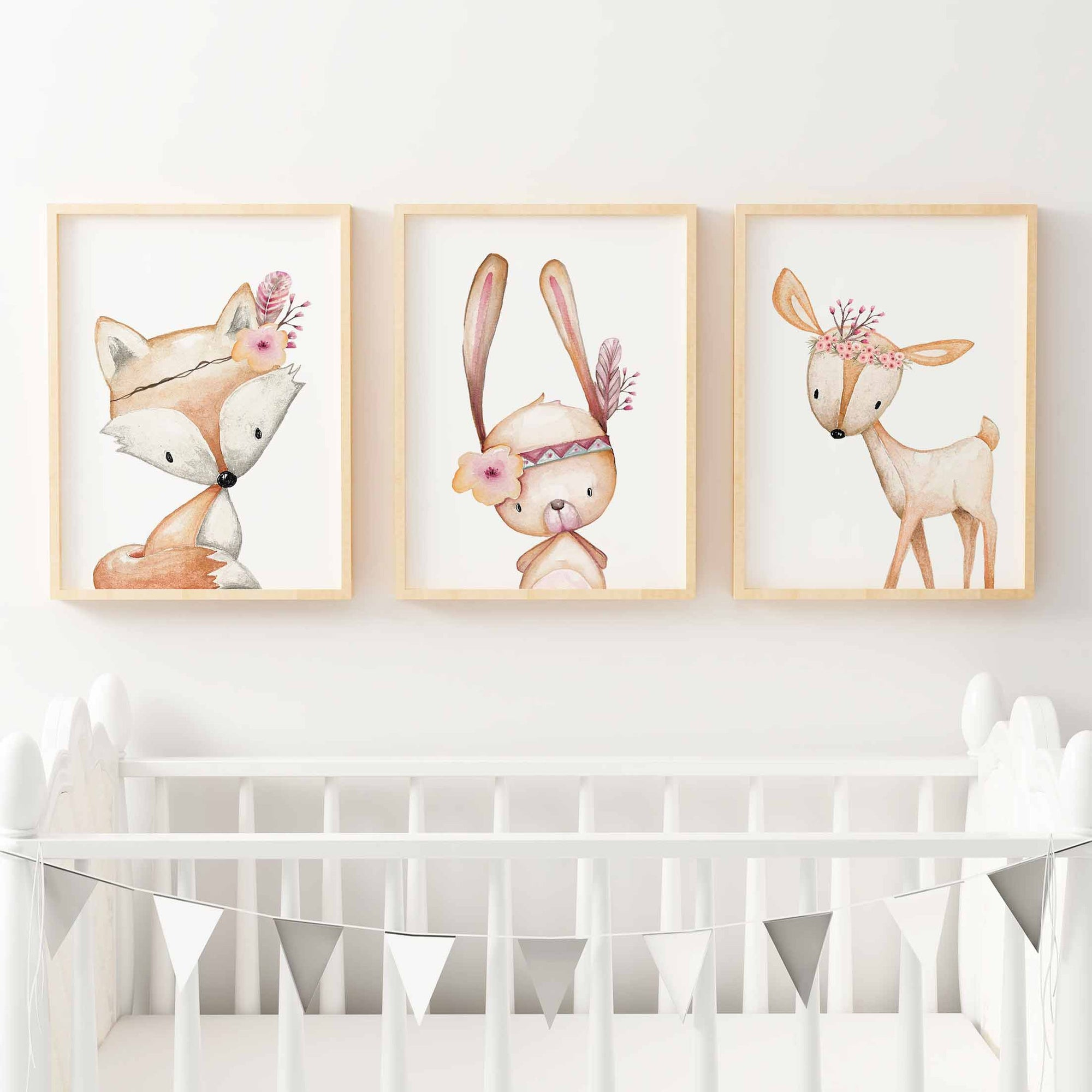 Baby, Girls Floral Woodland Nursery or Bedroom Wall Art Decor Print Set- Bunny, Fox & Deer