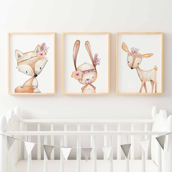Wonderful Baby, Girls Floral Woodland Nursery Or Bedroom Wall Art Decor Print Set   Bunny,