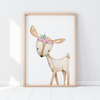Baby, Girls Floral Woodland Deer Nursery or Bedroom Wall Art Decor Print