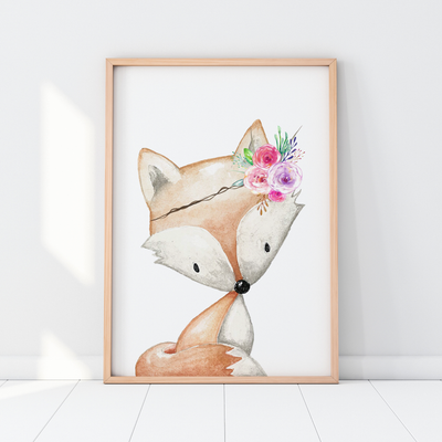 Baby, Girls Floral Woodland Fox Nursery or Bedroom Wall Art Decor Print