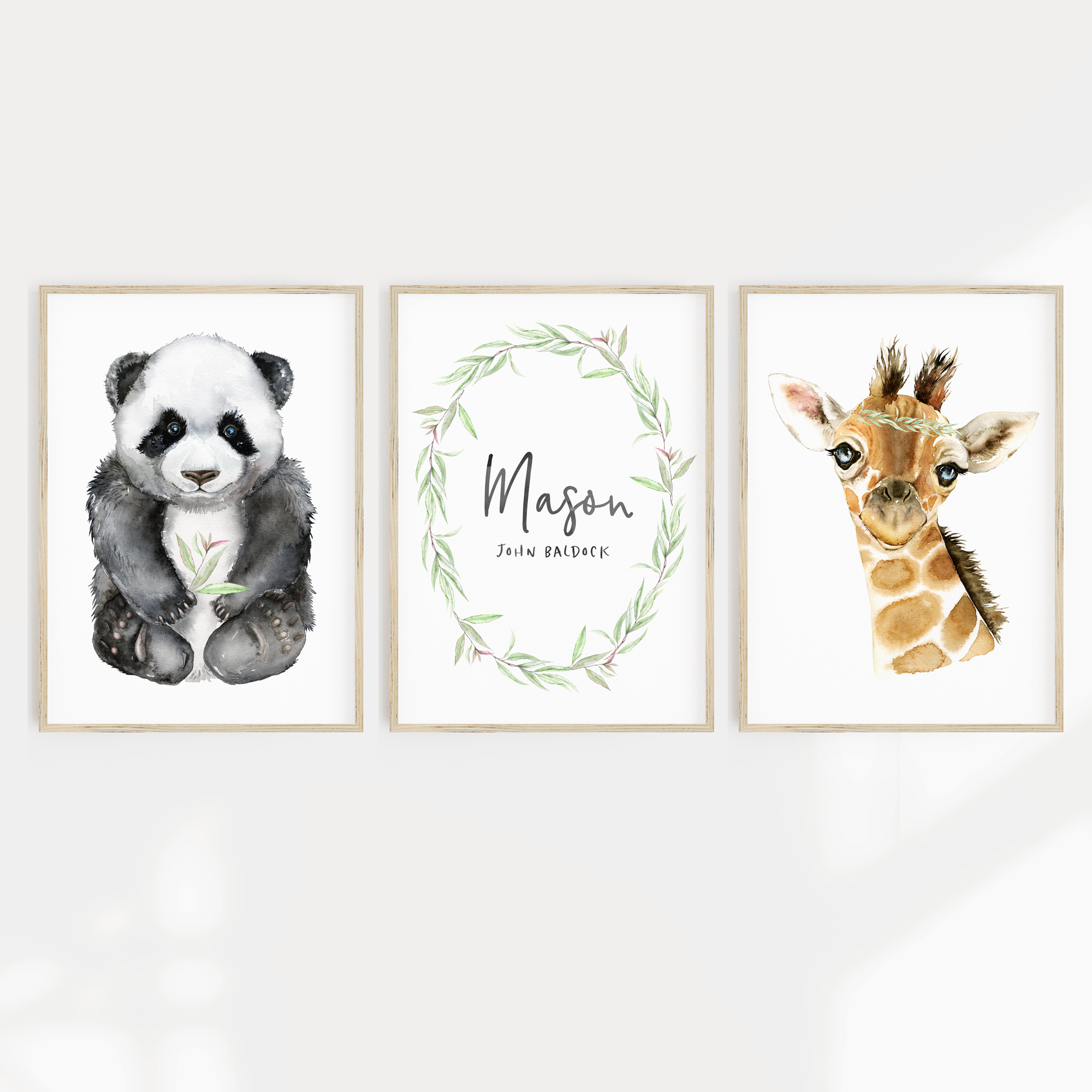 Panda & Giraffe Watercolour Nursery or Bedroom Print Set with Personalised Name