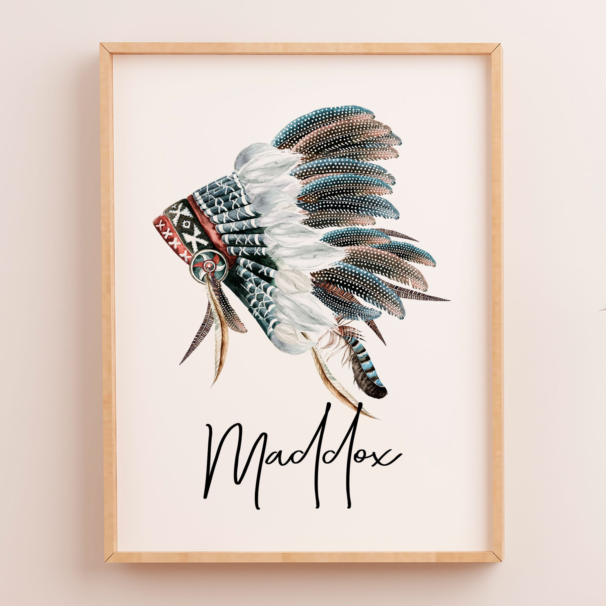 Baby Boys Boho Tribal Headdress Nursery Or Bedroom Wall Art Decor Name  Print   Personalised