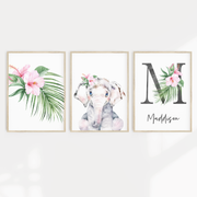 Girls Watercolour Safari Elephant Nursery or Bedroom Print Set with Personalised Letter