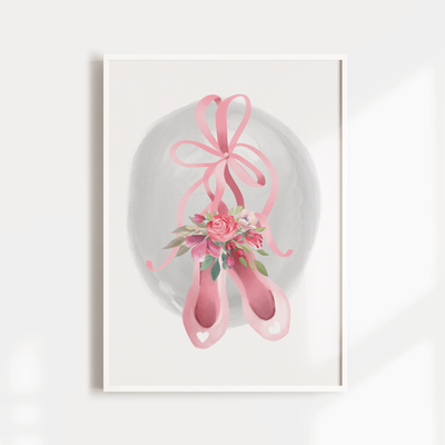 Girls Pink Floral Ballet Shoes Nursery Wall Art Print