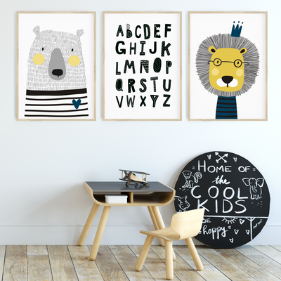 Scandi Animal Nursery Wall Art Print Set - Lion, Bear & Alphabet
