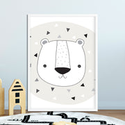 Woodland Tribal Bear Face Nursery or Bedroom Wall Art Print
