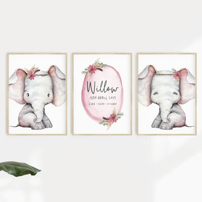 Woodland Elephant Nursery Print Set - Birth Print