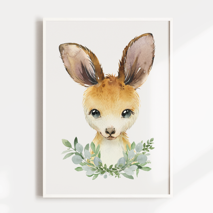 Boys Baby Animal Nursery Wall Art Print - Kangaroo