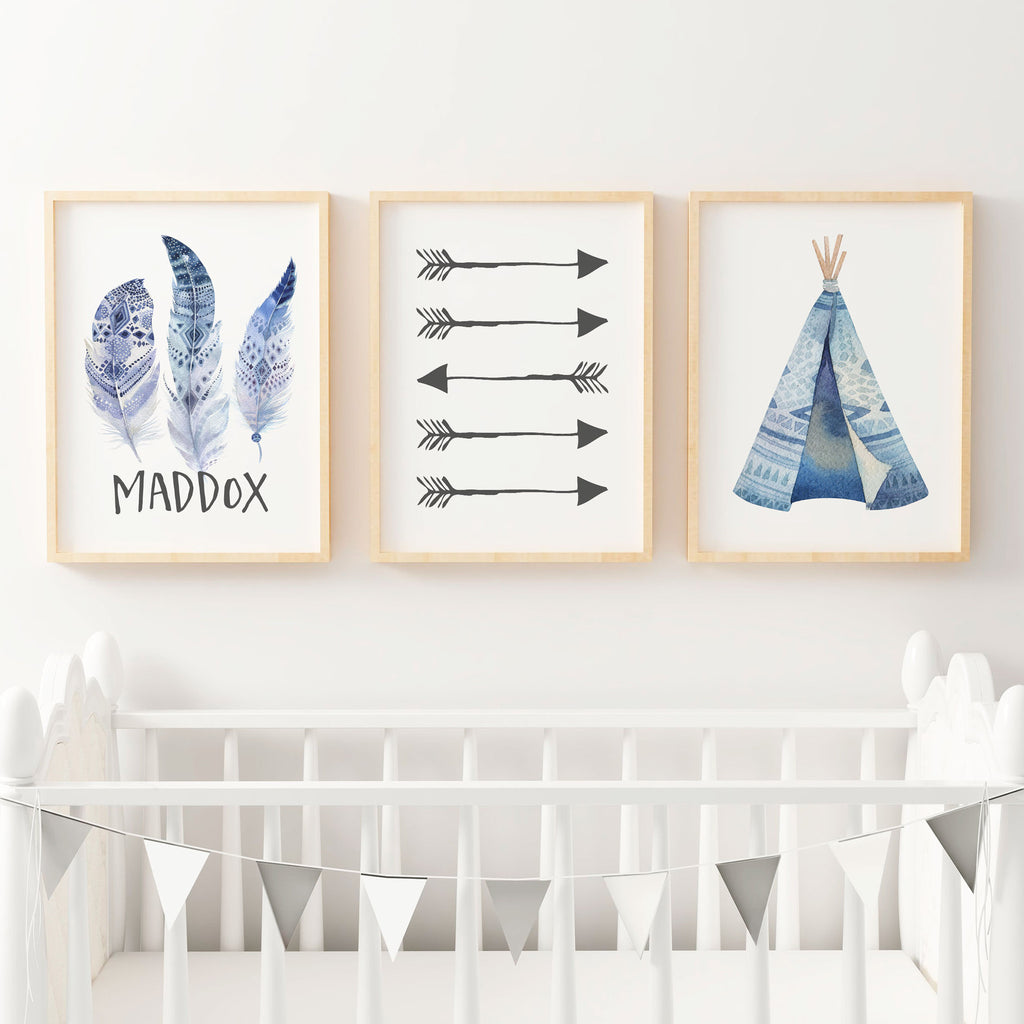Boys boho wall art nursery bedroom prints the kids for Boys wall art