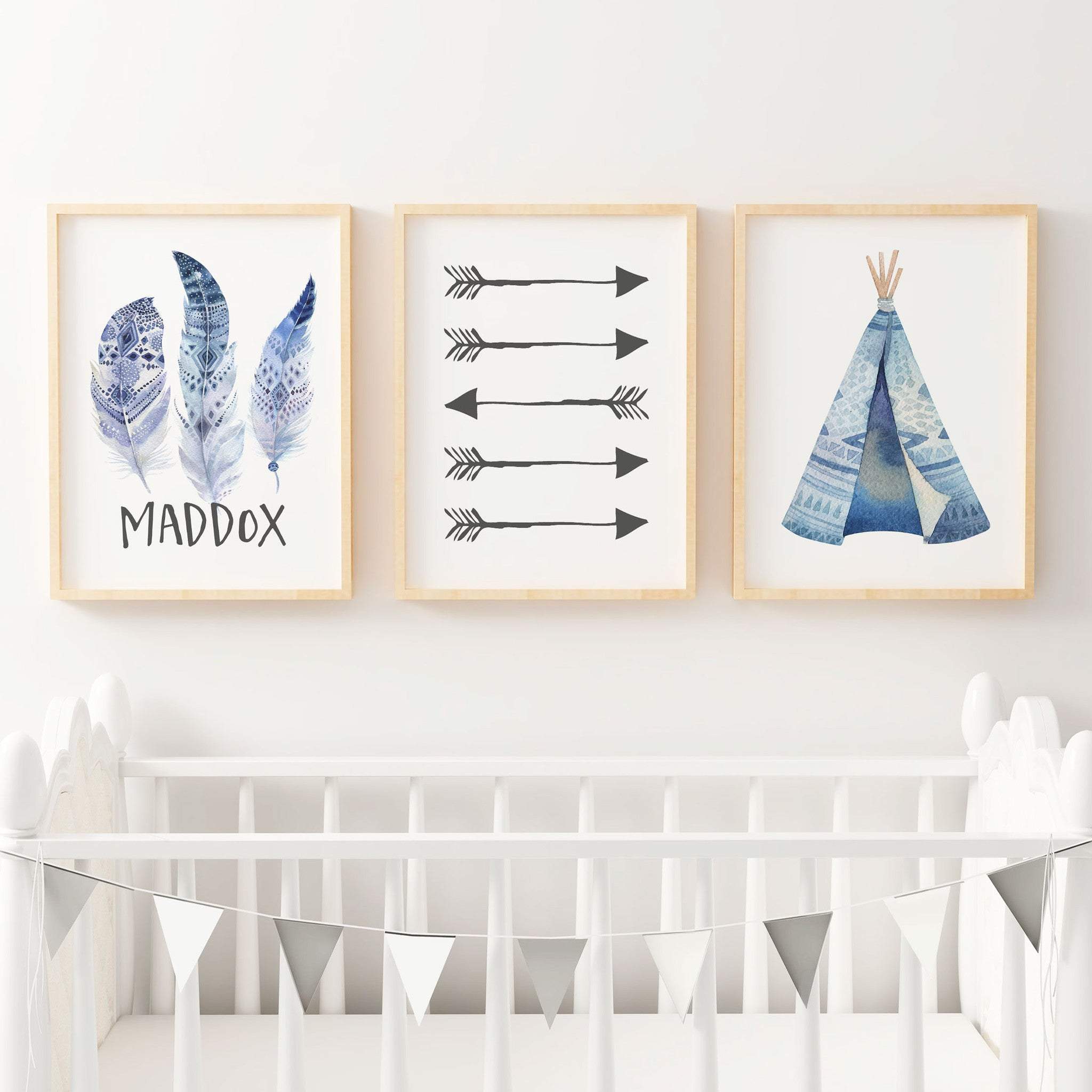 Beau Boys Blue Boho Tribal Nursery Or Bedroom Wall Art Print Set   Personalised