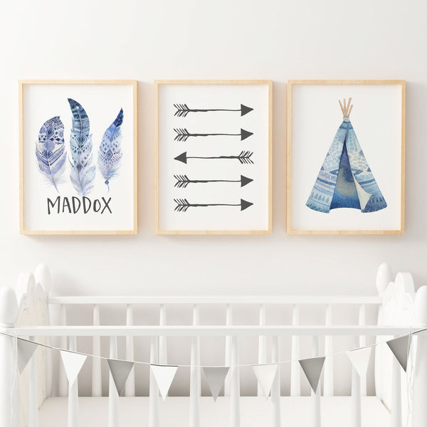 Boys Blue Boho Tribal Nursery or Bedroom Wall Art Print Set - Personalised