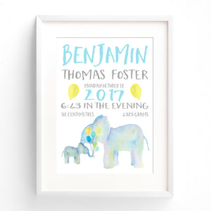 Elephant Nursery Print - Boys Personalised Birth Announcement Print