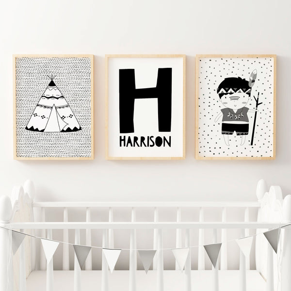 Boys monochrome tribal nursery or bedroom wall art decor print set personalised letter name