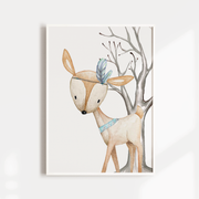 Boys Woodland Deer Nursery Print