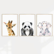 Boys Panda, Elephant & Giraffe Watercolour Nursery or Bedroom Print Set
