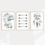 Boys Boho Tribal Headress, Arrows & Dreamcatcher Nursery or Bedroom Print Set