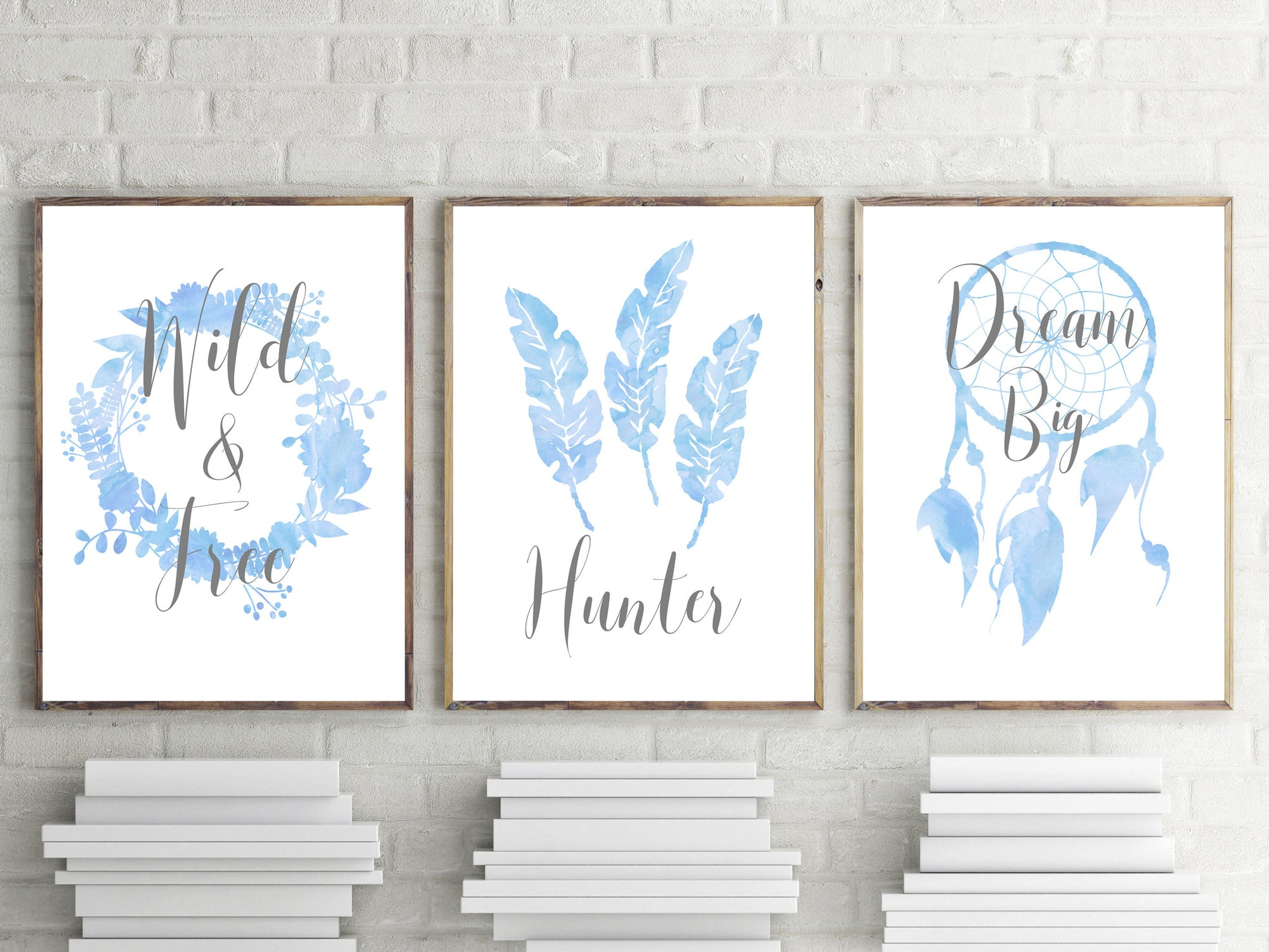 Boys Boho Watercolour Nursery or Bedroom Print Set - Personalised Name
