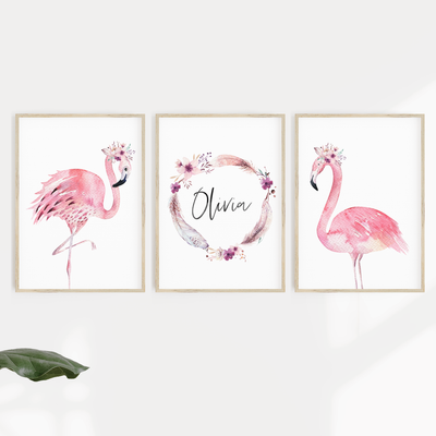 Watercolour Flamingos - Set of 3 Nursery Prints - Personalised