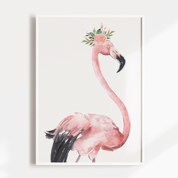Tropical Flamingo Nursery Wall Art Print - Floral Crown