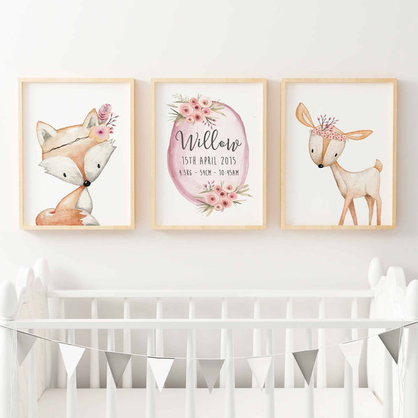 Baby, Girls Floral Woodland Nursery or Bedroom Wall Art Decor Print Set- Birth Print, Fox & Deer