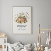 Sleeping Woodland Deer Fox Birth Print