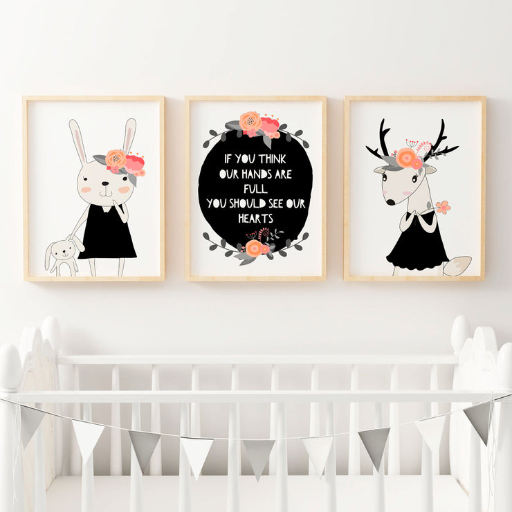 Baby, Girls Floral Peach Woodland Nursery or Bedroom Wall Art Decor Print Set- Bunny, Deer & Quote