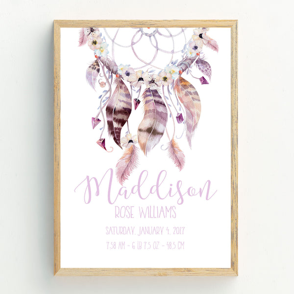 Baby Girl Announcement Dreamcatcher Birth Print