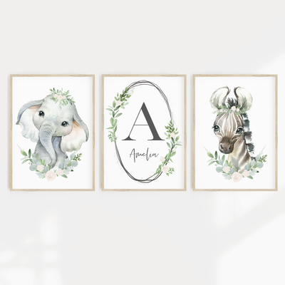 Baby, Girls Floral, Safari, Woodland Nursery or Bedroom Wall Art Decor Print Set- Name Print, Elephant & Zebra