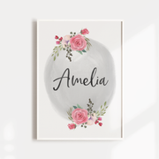 Pink Floral Watercolour Woodland Name Print